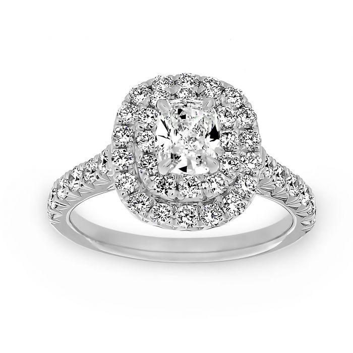 Henri Daussi Cushion Cut Diamond Double Halo Engagement Ring