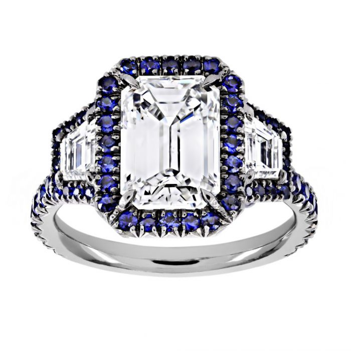 b10674129b844e TWO by London TWO by London Three Stone Emerald Diamond Blue Sapphire Halo Engagement  Ring