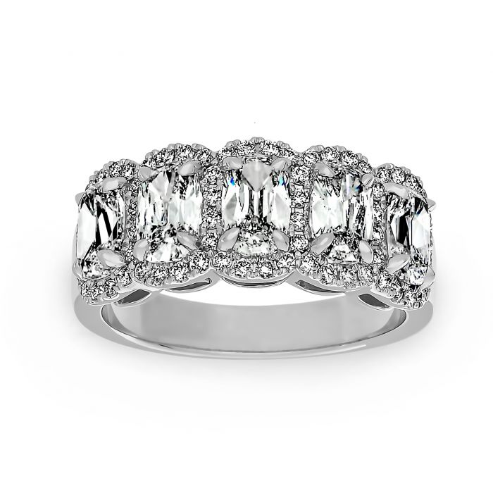 Henri Daussi Five Stone Elongated Cushion Diamond Halo Wedding Band