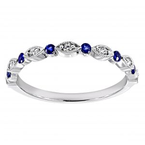 Henri Daussi Alternating Blue Sapphire And Diamond Band