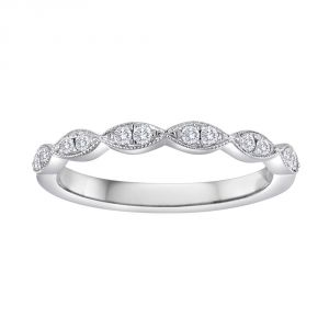 TWO by London Almond Shaped Diamond Milgrain Wedding Band
