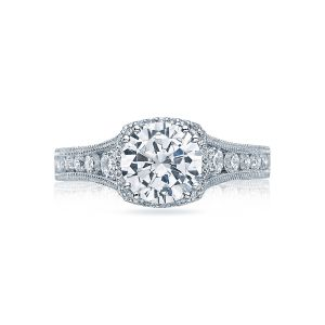 Tacori Reverse Crescent Pave Halo Engagement Ring