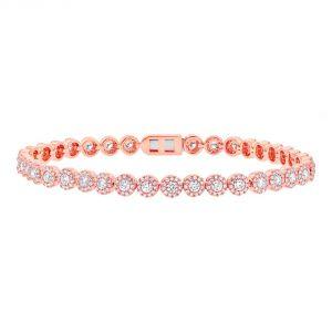 TWO by London 14k Rose Gold Diamond Flower Tennis Bracelet