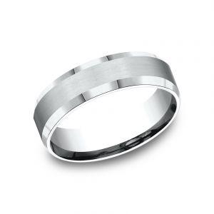 Benchmark 6mm Sculpted Platinum Satin Design Wedding Band