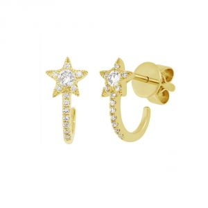 TWO by London 14k Gold Shooting Star Huggie Earrings