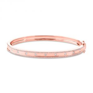 TWO by London 14k Rose Gold Pave Diamond Bar Bangle Bracelet