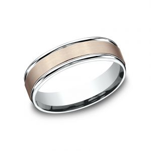 Benchmark Two-Tone 14k White and Rose Gold 6mm Sculpted Design Wedding Band