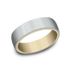 Benchmark 14k White and Yellow Gold 6.5mm Sculpted Design Wedding Band