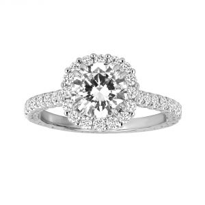 Jack Kelege Imperial Silhouette 18k White Gold Halo Diamond Engagement Ring