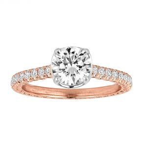 Jack Kelege Imperial Silhouette 18k Two Tone Pave Diamond Engagement Ring