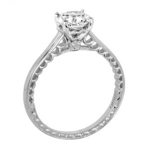 Jack Kelege Imperial Silhouette Plain 18k White Gold Diamond Engagement Ring