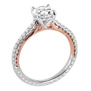 Jack Kelege Imperial Silhouette Two Tone Diamond Engagement Ring