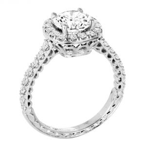 Jack Kelege 18k White Gold Diamond Halo Engagement Ring