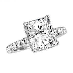 Jack Kelege Grace 18k White Gold Radiant Diamond Engagement Ring