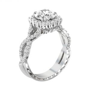 Jack Kelege Demi 18k White Gold Round Diamond Halo Engagement Ring