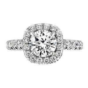 Jack Kelege Flora Platinum Diamond Halo Engagement Ring