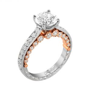 Jack Kelege Imperial Silhouette Two Tone Unique Diamond Engagement Ring