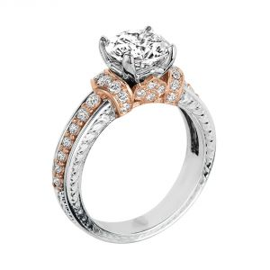 Jack Kelege 18k Two Tone Round Diamond Engagement Ring