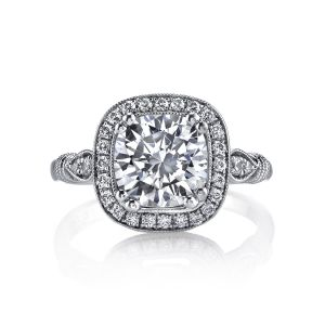 MARS Jewelry Grand Estates Vintage Cushion Halo Engagement Ring