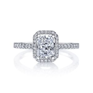 MARS Jewelry Ever After Emerald Diamond Halo Engagement Ring