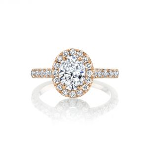 MARS Jewelry Luxe French Pave Oval Halo Engagement Ring