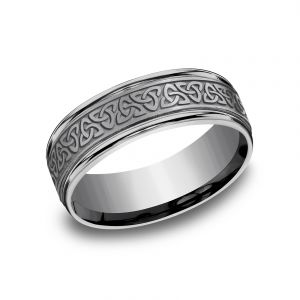 Benchmark Tantalum Grey Tantalum 7mm Sculpted Celtic Design Wedding Band