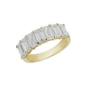 Norman Silverman 18k Yellow Gold Emerald Cut Diamond Halfway Wedding Band