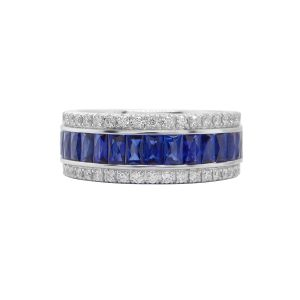 TWO by London 18k White Gold Diamond Sapphire Anniversary Band