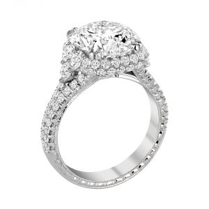 Jack Kelege Heritage Platinum Diamond Halo Engagement Ring