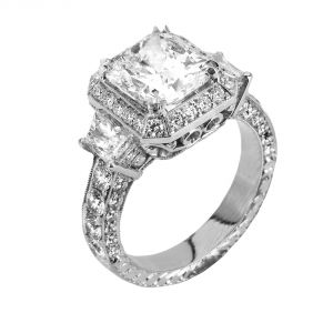 Jack Kelege Platinum Radiant Diamond Engagement Ring