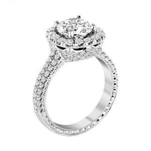 Jack Kelege Heritage Platinum Diamond Halo Engagement Ring