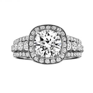 Jack Kelege Demi 18k White Gold Round Diamond Engagement Ring