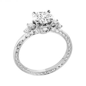 Jack Kelege Grace 18k White Gold Diamond Engagement Ring