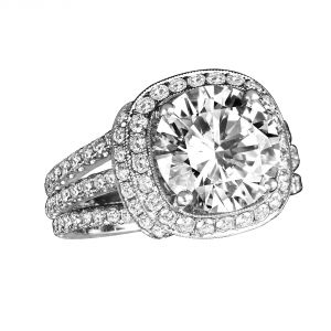 Jack Kelege Sirela 18k White Gold Round Diamond Engagement Ring