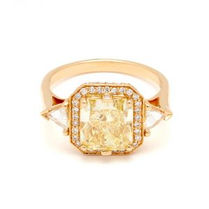 Anna Sheffield Bea Halo 18k Yellow Gold Engagement Ring