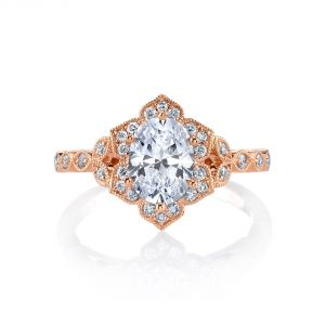 MARS Jewelry Golden Blossoms Floral Oval Halo Diamond Engagement Ring