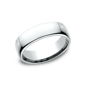 Benchmark 6.5mm 14k White Gold European Comfort-Fit Wedding Band