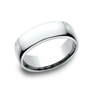 Benchmark 7.5mm 14k White Gold European Comfort-Fit Wedding Band