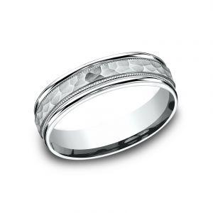 Benchmark 6mm Sculpted Platinum Design Wedding Band