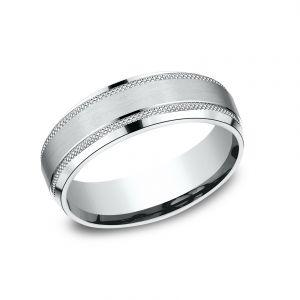 Benchmark 6mm Textured Platinum Sculpted Design Wedding Band