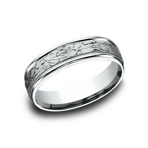 Benchmark Platinum 6mm Sculpted Rock Design Wedding Band