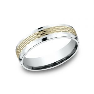 Benchmark 6mm Two-Tone 14k White and Yellow Gold Sculpted Design Wedding Band