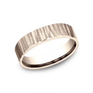 Benchmark 5mm 14k Rose Gold Sculpted Design Wedding Band