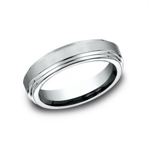 Benchmark 6mm 18k White Gold Sculpted Design Wedding Band