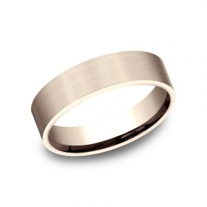 Benchmark 6mm 14k Rose Gold Textured Finish Sculpted Design Wedding Band