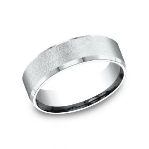 Benchmark Sculpted Design 7mm 18k White Gold Wedding Band