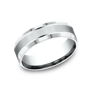 Benchmark Sculpted Design 7mm 14k White Gold Wedding Band