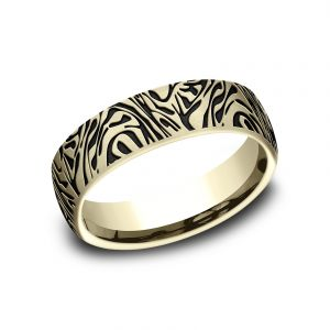 Benchmark 6.5mm 14k Yellow Gold Mokume Sculpted Design Wedding Band