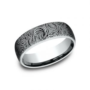 Benchmark 6.5mm Sculpted Swirl Design Wedding Band
