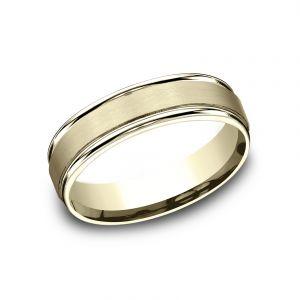 Benchmark 14k Yellow Gold 6mm Sculpted Design Satin Wedding Band